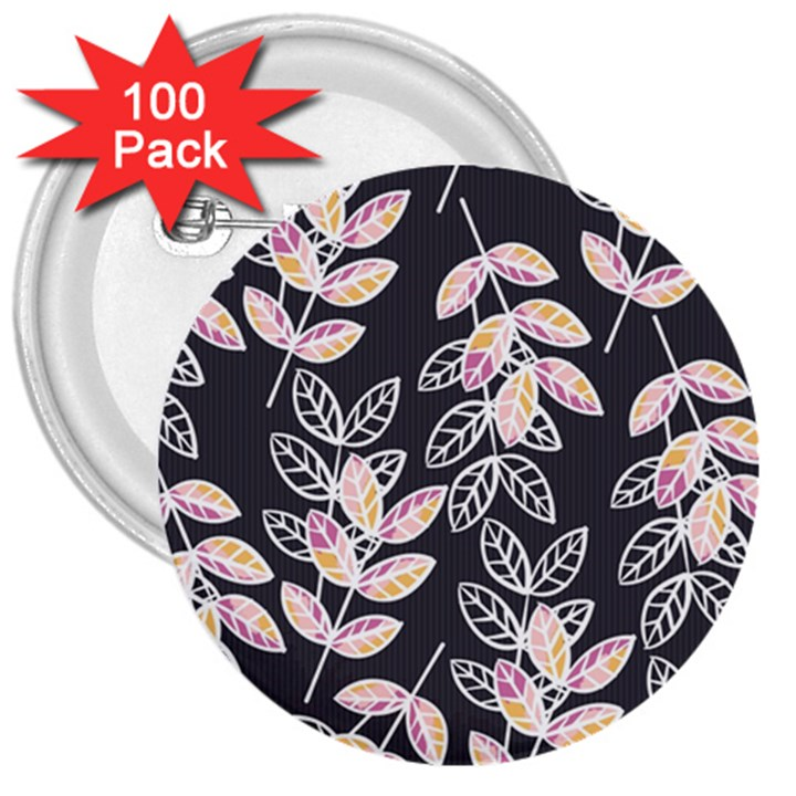 Winter Beautiful Foliage  3  Buttons (100 pack)