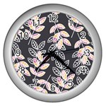 Winter Beautiful Foliage  Wall Clocks (Silver)  Front