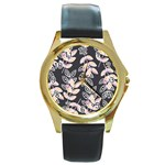 Winter Beautiful Foliage  Round Gold Metal Watch Front