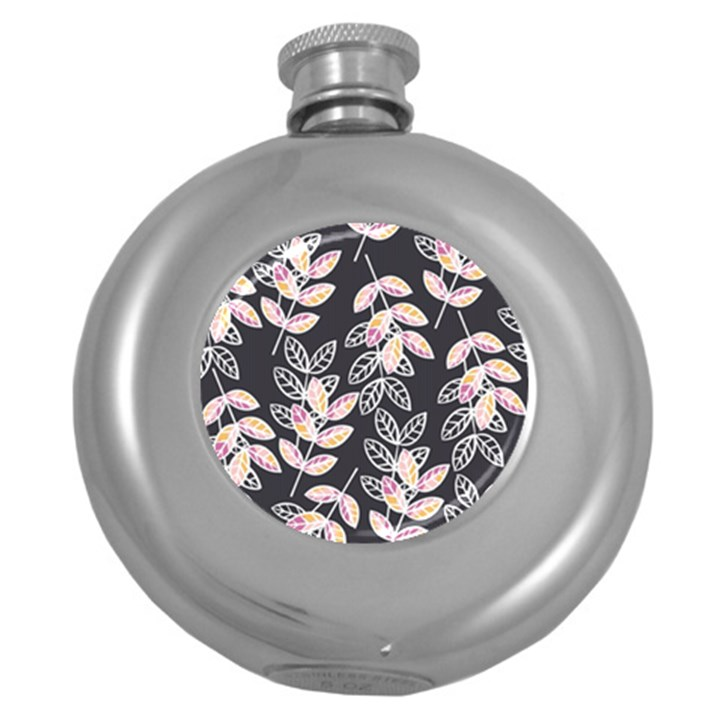 Winter Beautiful Foliage  Round Hip Flask (5 oz)