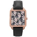 Winter Beautiful Foliage  Rose Gold Leather Watch  Front