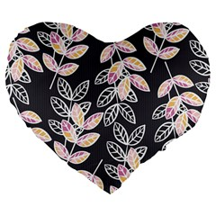 Winter Beautiful Foliage  Large 19  Premium Flano Heart Shape Cushions