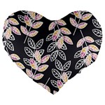 Winter Beautiful Foliage  Large 19  Premium Flano Heart Shape Cushions Front