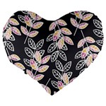 Winter Beautiful Foliage  Large 19  Premium Flano Heart Shape Cushions Back