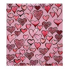 Artistic Valentine Hearts Shower Curtain 66  x 72  (Large)