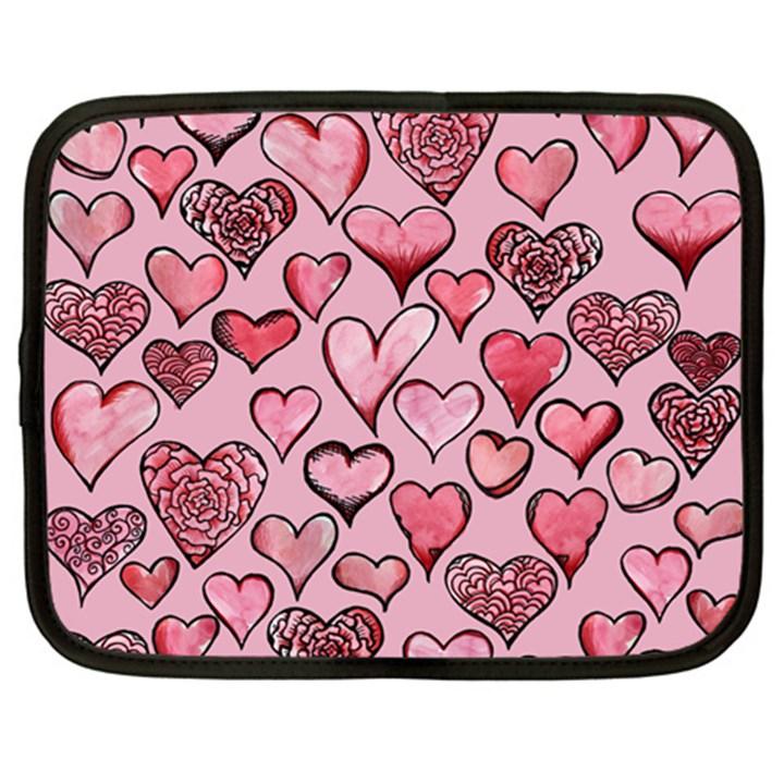 Artistic Valentine Hearts Netbook Case (XXL)