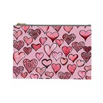 Artistic Valentine Hearts Cosmetic Bag (Large)  Front