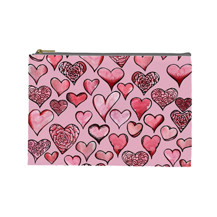 Artistic Valentine Hearts Cosmetic Bag (Large)