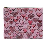 Artistic Valentine Hearts Cosmetic Bag (XL) Front