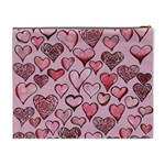 Artistic Valentine Hearts Cosmetic Bag (XL) Back