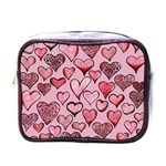 Artistic Valentine Hearts Mini Toiletries Bags Front