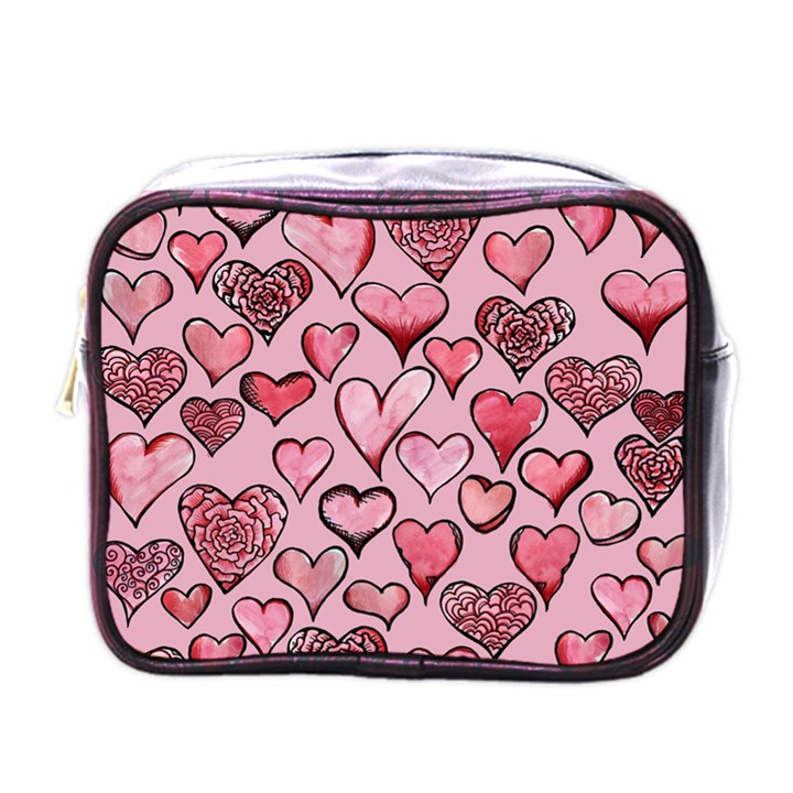 Artistic Valentine Hearts Mini Toiletries Bags
