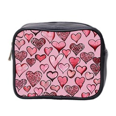 Artistic Valentine Hearts Mini Toiletries Bag 2 Side