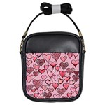 Artistic Valentine Hearts Girls Sling Bags Front