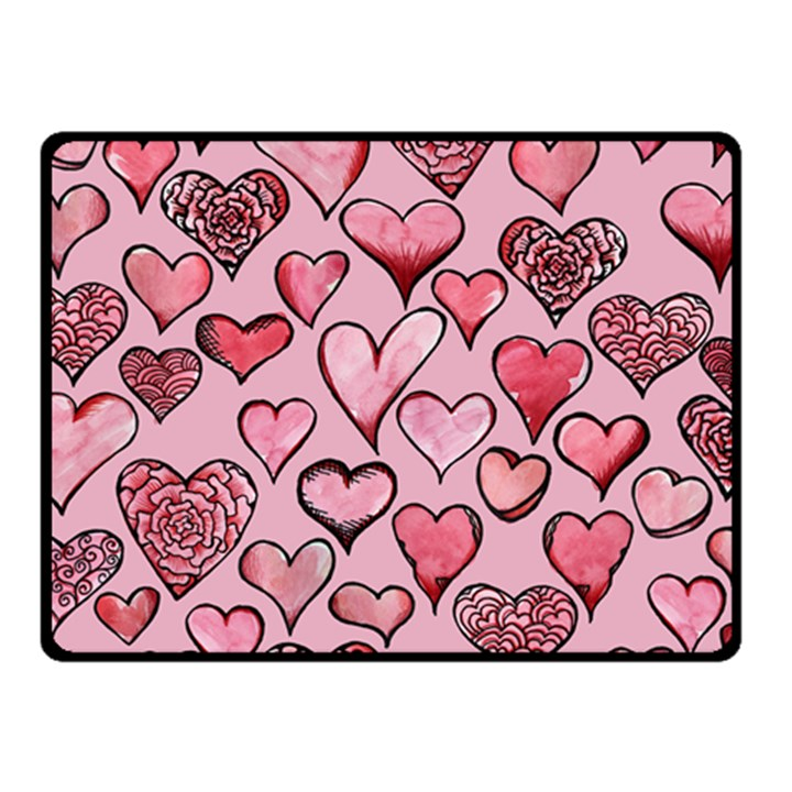 Artistic Valentine Hearts Fleece Blanket (Small)