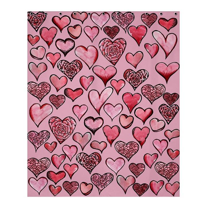 Artistic Valentine Hearts Shower Curtain 60  x 72  (Medium)