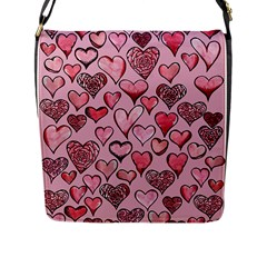 Artistic Valentine Hearts Flap Messenger Bag (l)