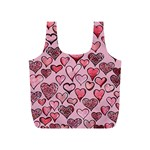 Artistic Valentine Hearts Full Print Recycle Bags (S)  Back
