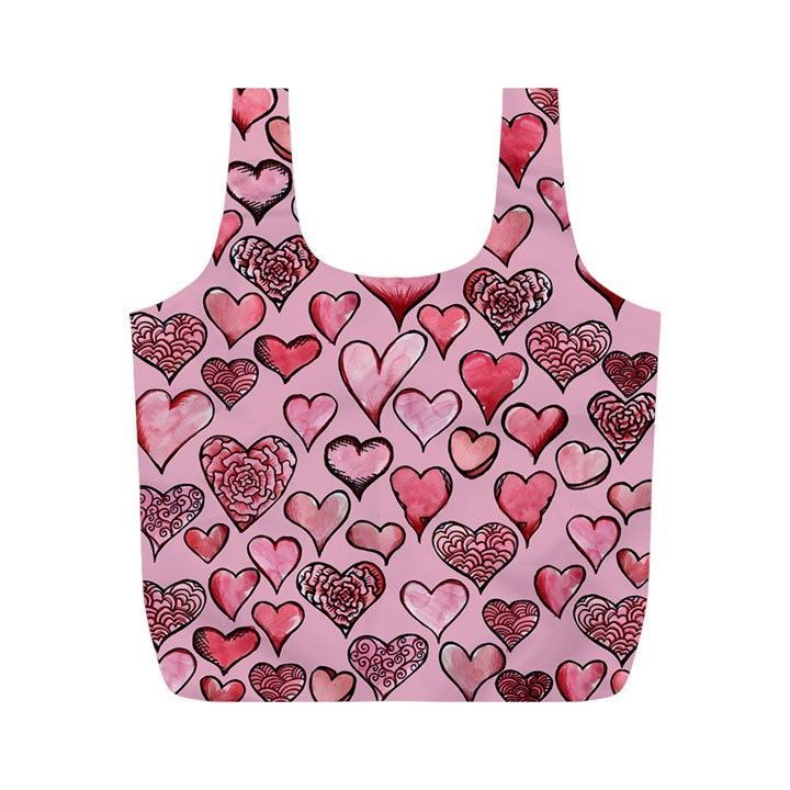 Artistic Valentine Hearts Full Print Recycle Bags (M)