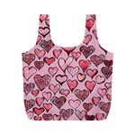 Artistic Valentine Hearts Full Print Recycle Bags (M)  Back