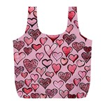 Artistic Valentine Hearts Full Print Recycle Bags (L)  Front
