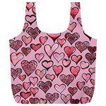 Artistic Valentine Hearts Full Print Recycle Bags (L)  Back
