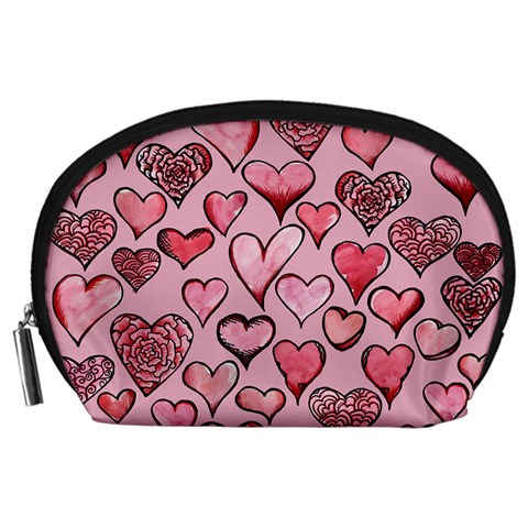 Artistic Valentine Hearts Accessory Pouches (Large)