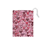 Artistic Valentine Hearts Drawstring Pouches (Small)  Front