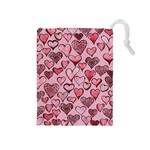 Artistic Valentine Hearts Drawstring Pouches (Medium)  Front