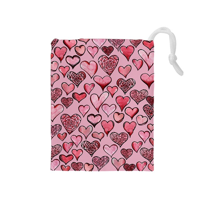 Artistic Valentine Hearts Drawstring Pouches (Medium)