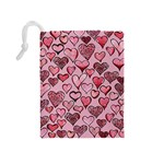 Artistic Valentine Hearts Drawstring Pouches (Medium)  Back
