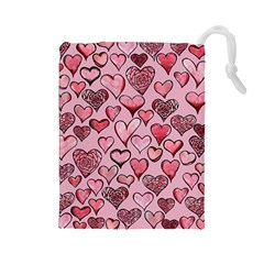 Artistic Valentine Hearts Drawstring Pouches (large)