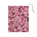 Artistic Valentine Hearts Drawstring Pouches (Large)  Front