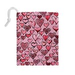 Artistic Valentine Hearts Drawstring Pouches (Large)  Back