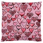 Artistic Valentine Hearts Large Flano Cushion Case (Two Sides) Front