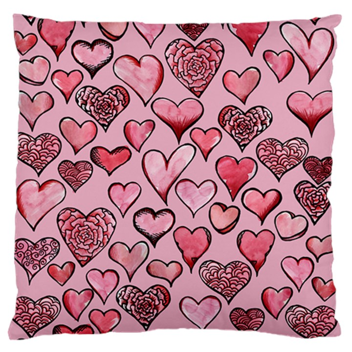 Artistic Valentine Hearts Large Flano Cushion Case (Two Sides)