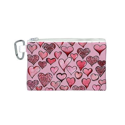 Artistic Valentine Hearts Canvas Cosmetic Bag (S)