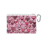 Artistic Valentine Hearts Canvas Cosmetic Bag (S) Back