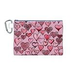 Artistic Valentine Hearts Canvas Cosmetic Bag (M) Front