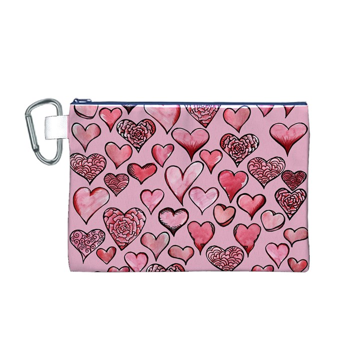 Artistic Valentine Hearts Canvas Cosmetic Bag (M)