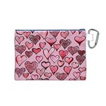 Artistic Valentine Hearts Canvas Cosmetic Bag (M) Back