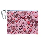 Artistic Valentine Hearts Canvas Cosmetic Bag (L) Front