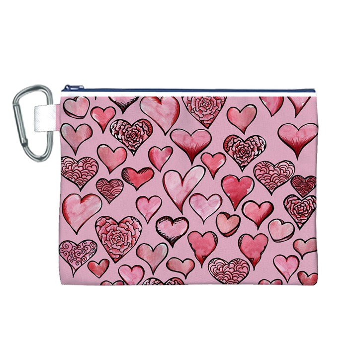 Artistic Valentine Hearts Canvas Cosmetic Bag (L)