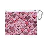 Artistic Valentine Hearts Canvas Cosmetic Bag (L) Back