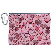 Artistic Valentine Hearts Canvas Cosmetic Bag (xl)