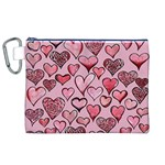 Artistic Valentine Hearts Canvas Cosmetic Bag (XL) Front