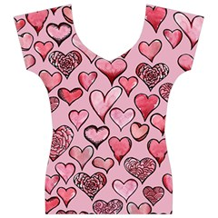 Artistic Valentine Hearts Women s V-Neck Cap Sleeve Top