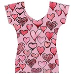 Artistic Valentine Hearts Women s V-Neck Cap Sleeve Top Front