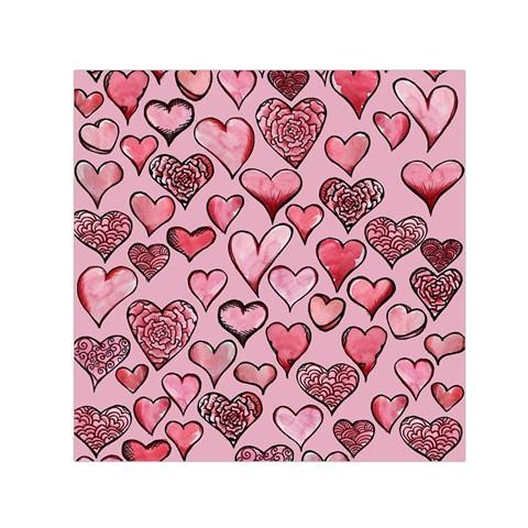 Artistic Valentine Hearts Small Satin Scarf (Square)