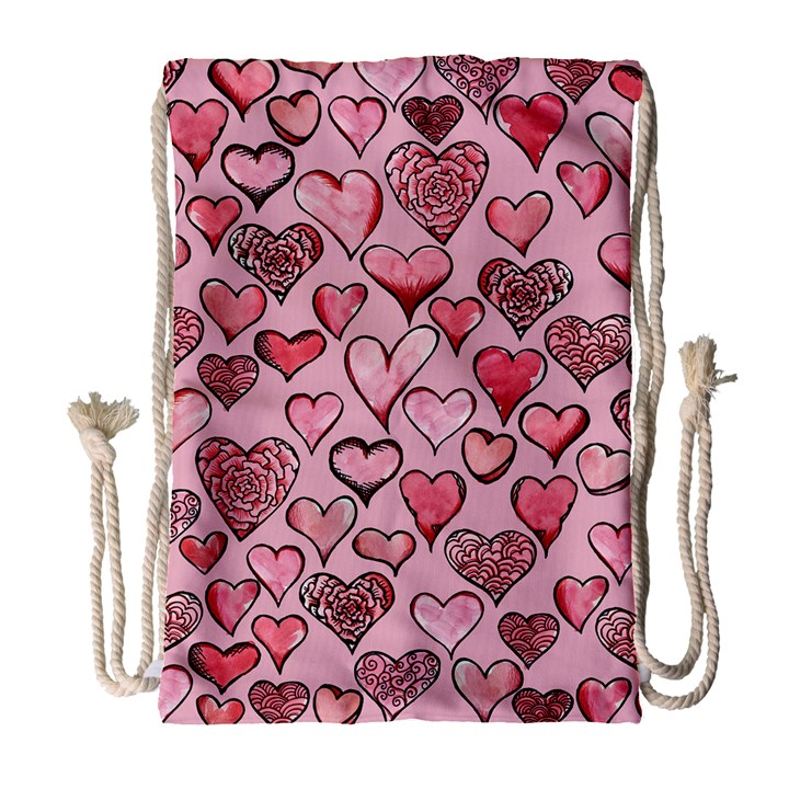 Artistic Valentine Hearts Drawstring Bag (Large)